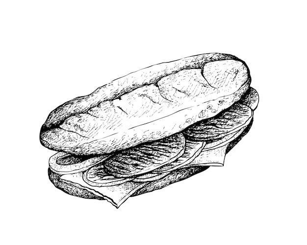 Hand drawn of delicious philly cheesesteak sandwich