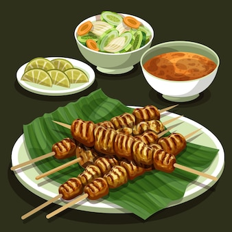 Hand drawn delicious satay on plate