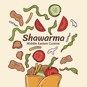손으로 그린 맛있는 shawarma 그림