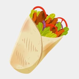 Deliziosa illustrazione di shawarma disegnata a mano
