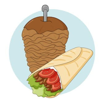 Hand drawn delicious shawarma illustration