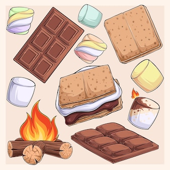 Hand drawn delicious smore collection marshmallows cracker chocolate barre and fire