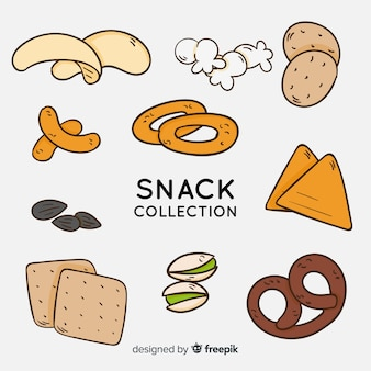 Hand drawn delicious snack collection