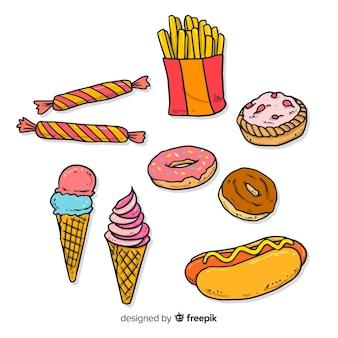 Collezione di deliziosi snack disegnati a mano