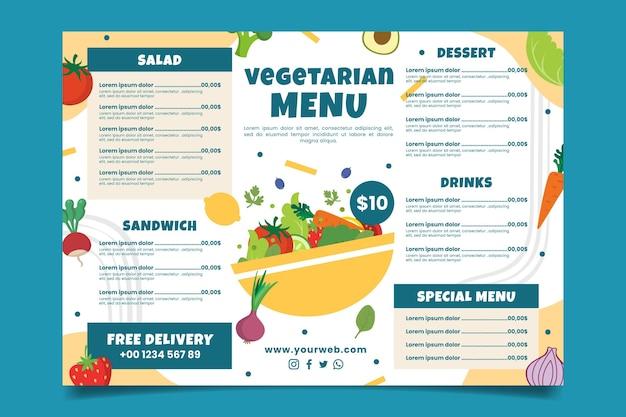 Hand drawn delicious vegetarian menu