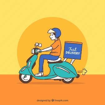 Hand drawn delivery man on scooter