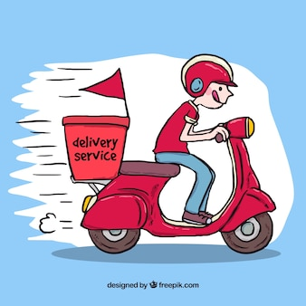 Hand drawn deliveryman driving scooter