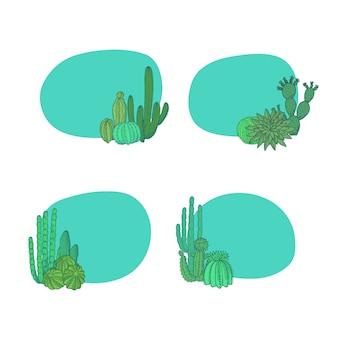 손으로 그린 사막 선인장 식물