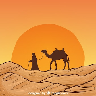 Hand drawn desert landscape with camel silhouette