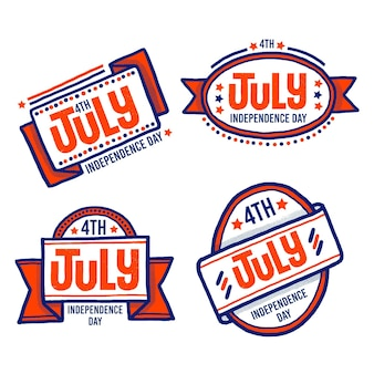 Hand drawn design 4th of july badges