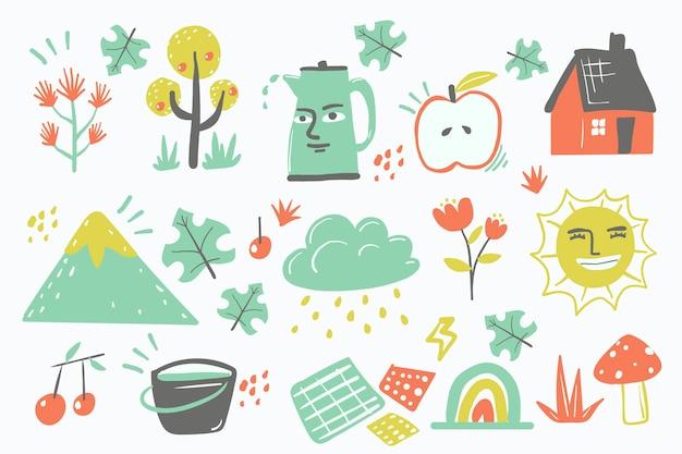 Forme organiche astratte di progettazione disegnata a mano