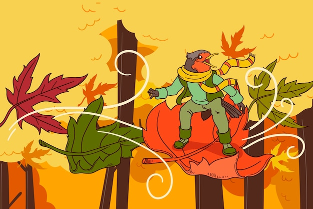 手描きデザイン秋の背景