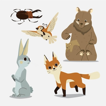 Hand drawn design autumn forest animals