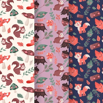 Hand drawn design autumn pattern collection
