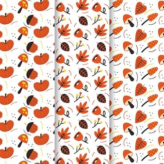 Hand drawn design autumn pattern set