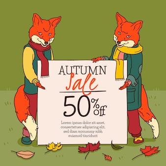 Vendita autunno design disegnato a mano