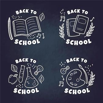 Disegno disegnato a mano di nuovo ai distintivi di scuola