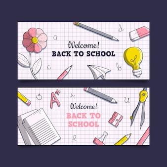 Disegno disegnato a mano di nuovo a striscioni di scuola