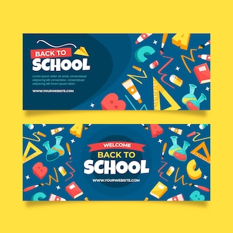 Hand drawn design back to school banners