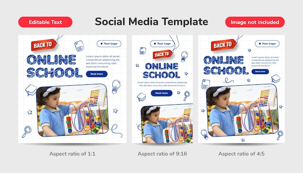 Hand drawn design back to school concept with editable text effect. social media template online school with 3d pencil, alphabet and smartphone.