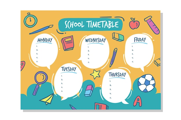 Hand drawn design back to school timetable