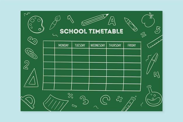 手描きのデザインが学校の時間割に戻る