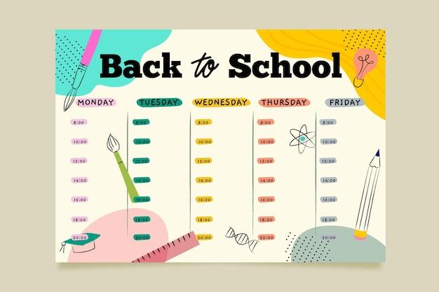 Ручной обращается дизайн обратно в школьное расписание