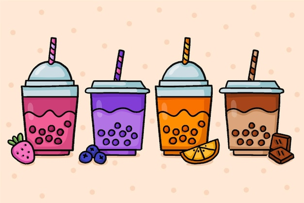 Hand drawn design bubble tea flavor set