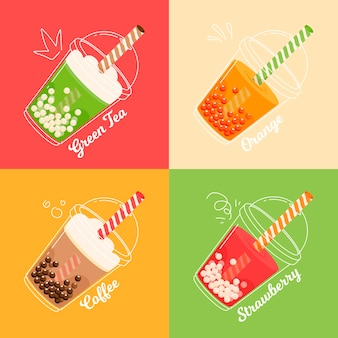 Hand drawn design bubble tea flavors
