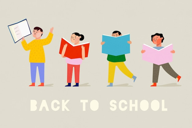 Hand drawn design children back to school