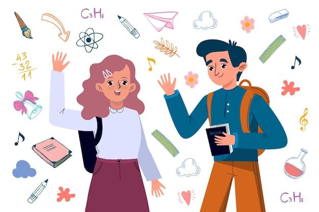 Ручной обращается дизайн детей обратно в школу