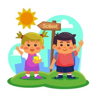 手描きデザインの子供たちが学校に戻る