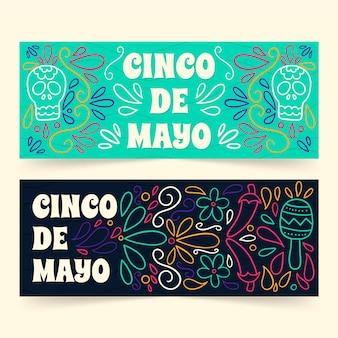 Ручной обращается дизайн синко де майо баннеры