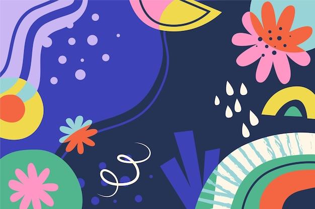 손으로 그린 디자인 다채로운 모양 배경