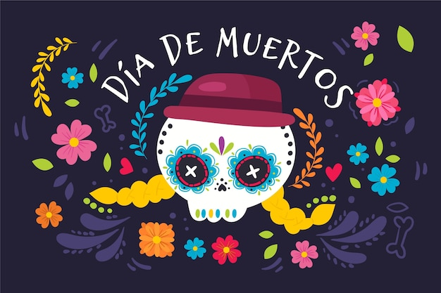 Hand drawn design day of the dead background