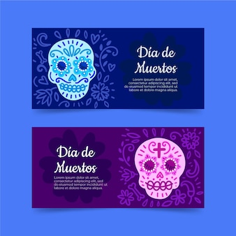 Hand drawn design day of the dead banners