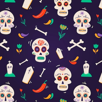 Hand drawn design day of the dead pattern