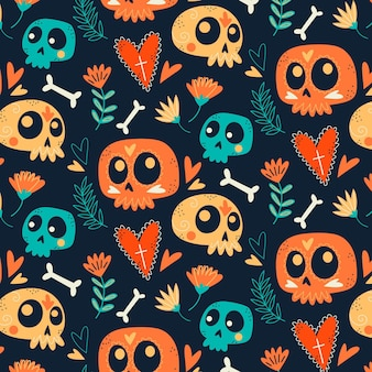 Hand drawn design day of the dead pattern Premium Vector