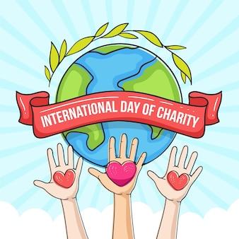 Ручной обращается дизайн день благотворительности