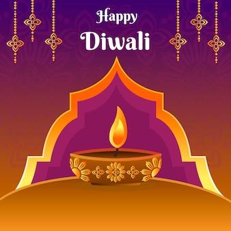 Diwali design disegnato a mano celebrare