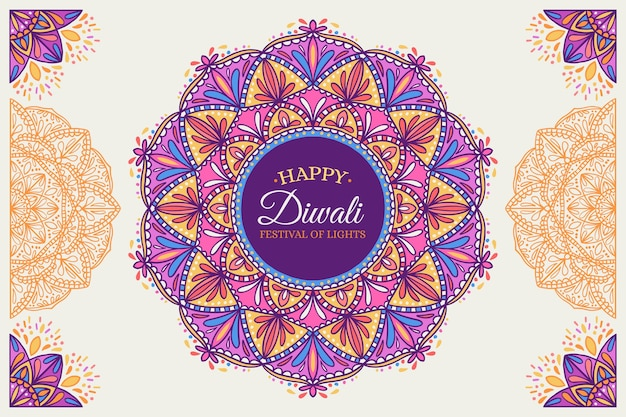 Hand drawn design diwali celebration