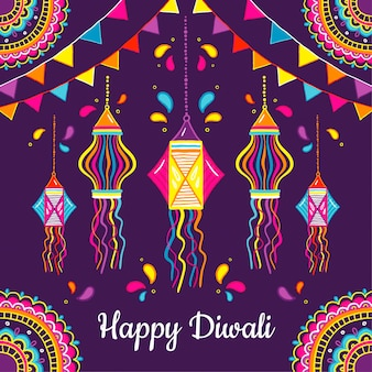 Hand drawn design diwali event