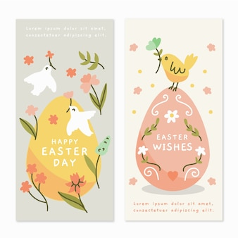 Hand drawn design easter day banners