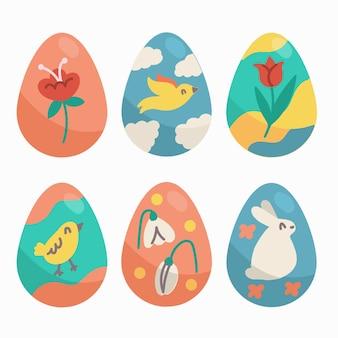 Insieme disegnato a mano dell'uovo di giorno di pasqua di progettazione