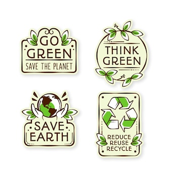 Hand drawn design ecology badges