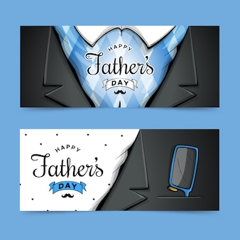 Hand drawn design father's day banners