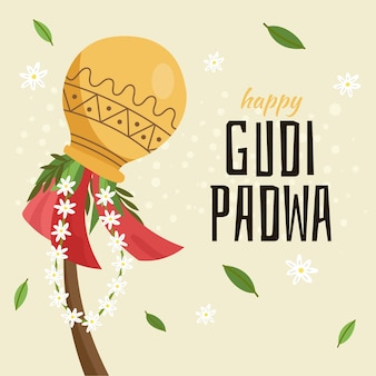Ручной обращается дизайн для события gudi padwa
