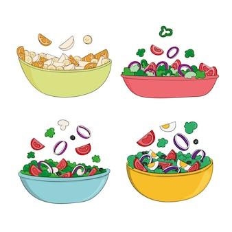 Hand drawn design fruit and salad bowls
