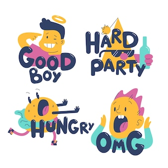 Hand drawn design funny sticker collection
