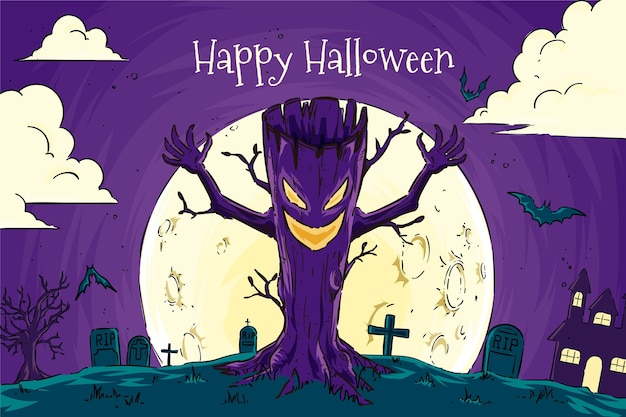 Hand drawn design halloween background